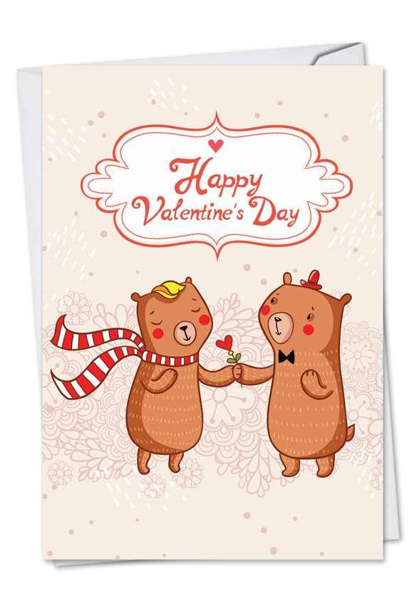 Valentine Bears: Stylish Valentine's Day Paper Greeting Card