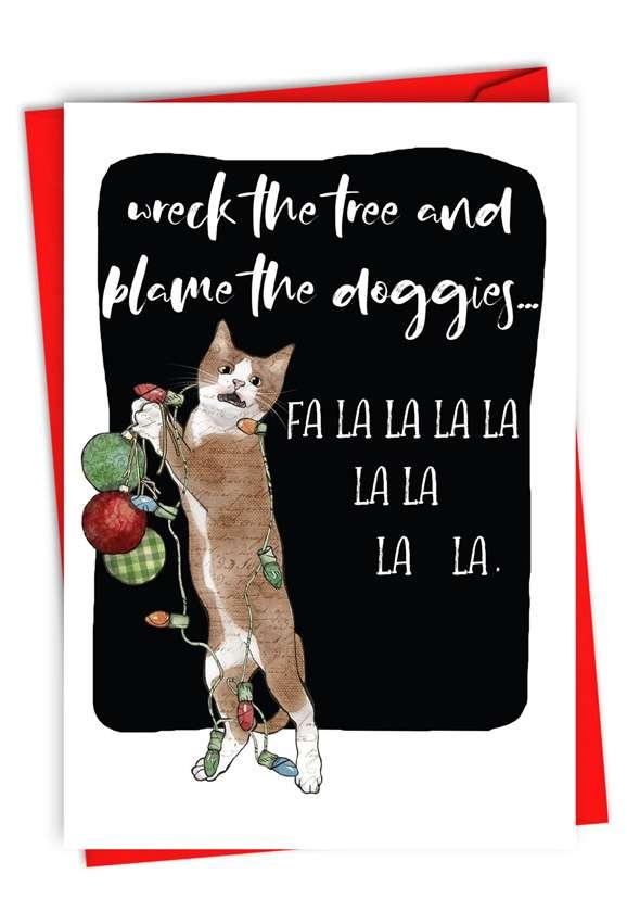 Blame The Doggies: Humorous Merry Christmas Paper Card