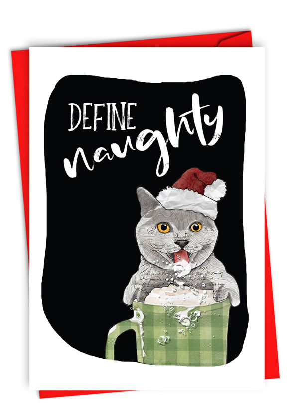 Define Naughty: Funny Merry Christmas Paper Greeting Card