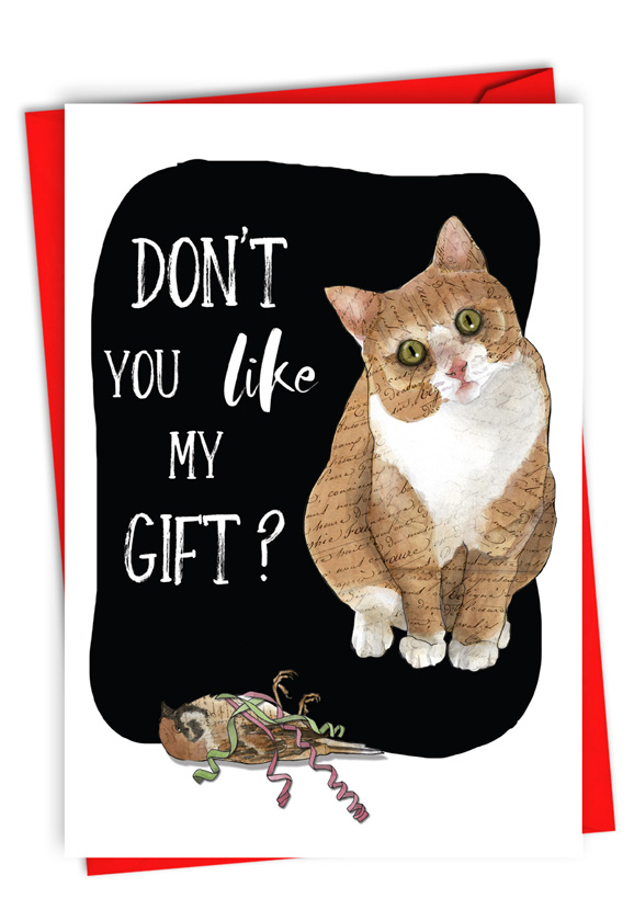 Cat Gift: Humorous Merry Christmas Paper Greeting Card