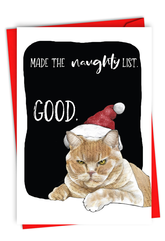 Cat Naughty List: Funny Merry Christmas Paper Greeting Card