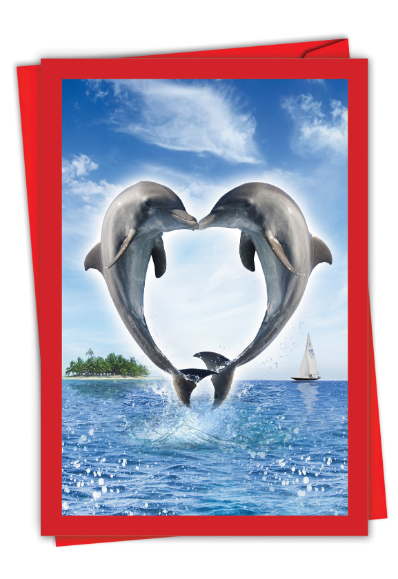 Loving Animals - Dolphins: Beautiful Valentine's Day Paper Card