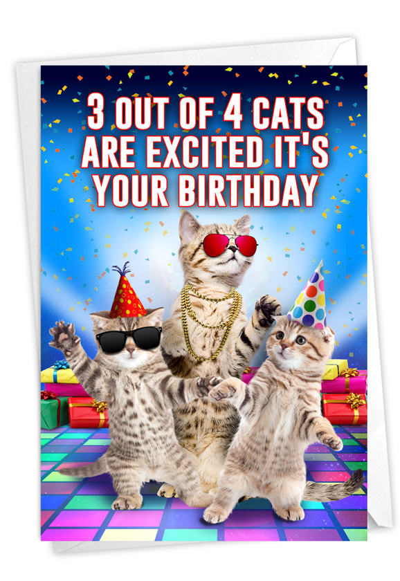 Excited Cats: Humorous Birthday Paper Card