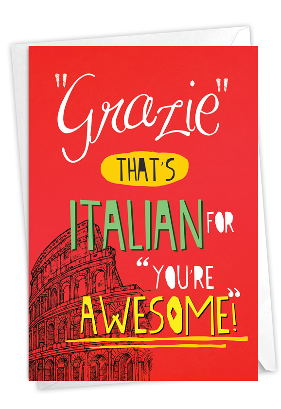 Grazie You're Awesome: Humorous Thank You Card