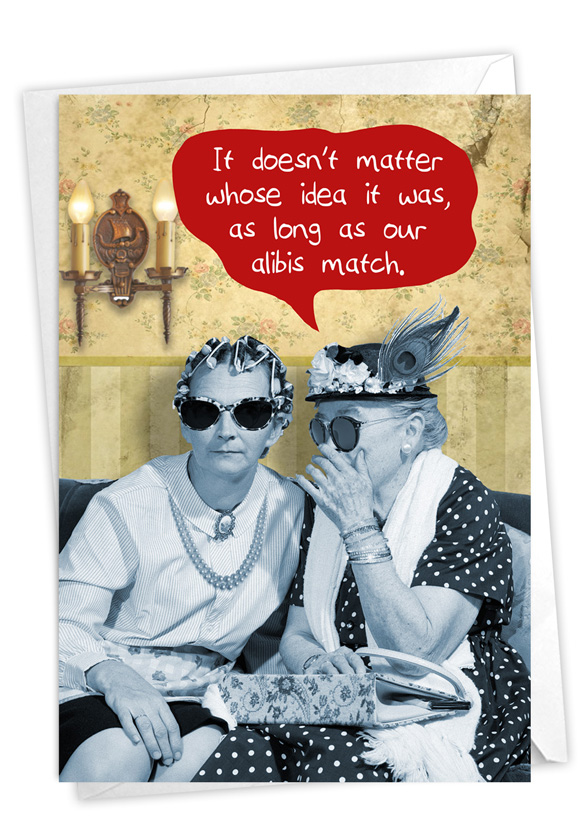 Matching Alibis: Funny Birthday Paper Card