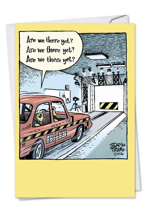 Crash Test Dummy Destination: Humorous Father's Day Printed Greeting Card