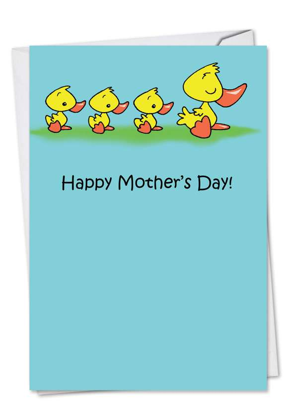 Ducklings In Line: Funny Mother's Day Paper Card