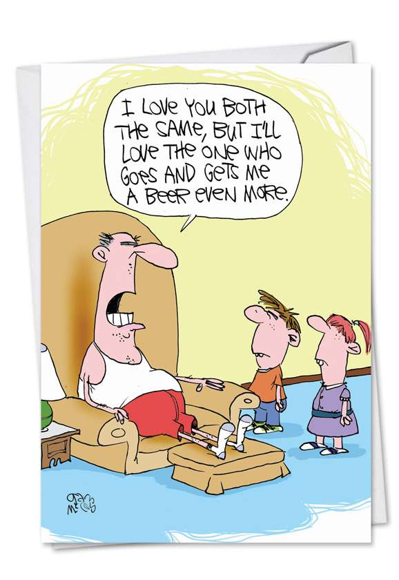 Love You Both: Funny Father's Day Paper Card