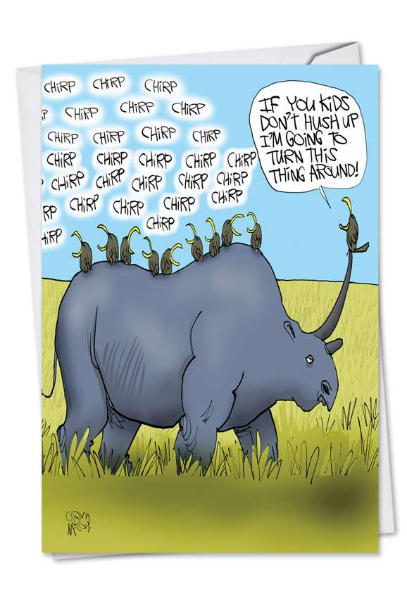 Rhino Ride: Hysterical Father's Day Paper Greeting Card