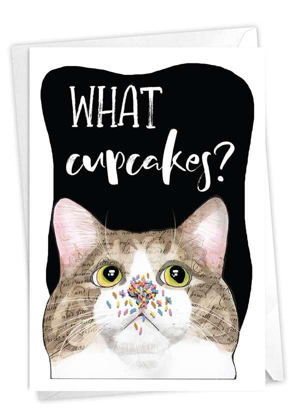 Cat Antics - Cupcakes: Hilarious Birthday Printed Greeting Card