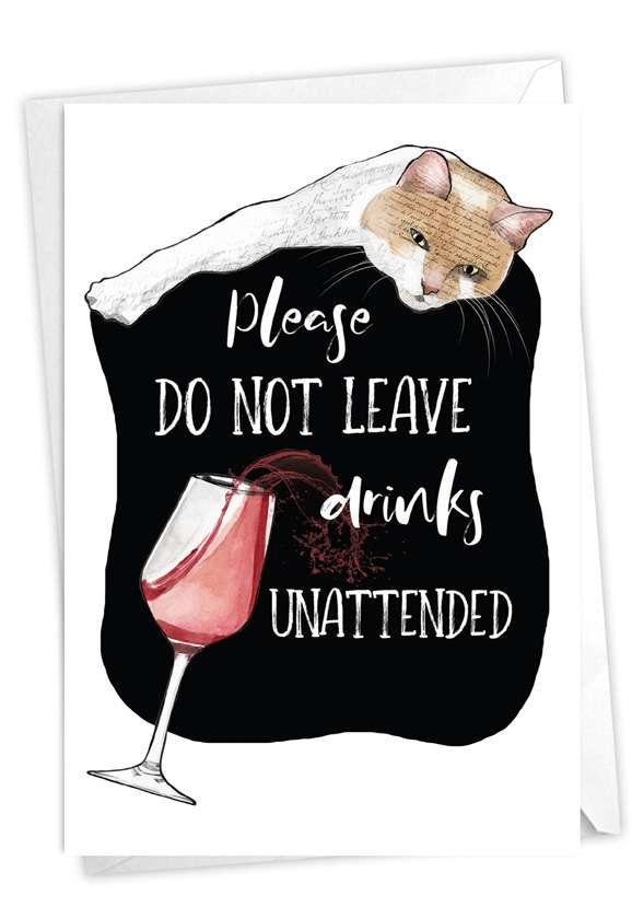 Cat Antics - Drinks: Humorous Birthday Card