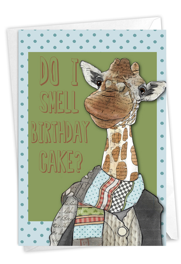 Giraffe Nose: Hysterical Birthday Printed Greeting Card