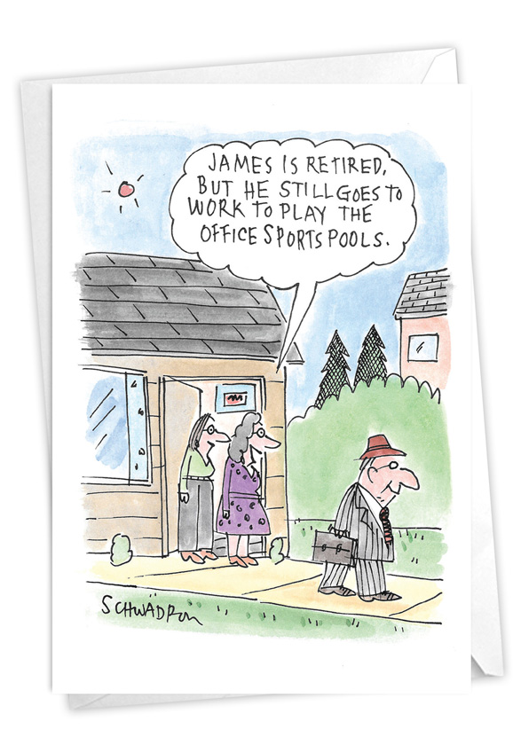 Office Sports Pool: Humorous Retirement Paper Greeting Card