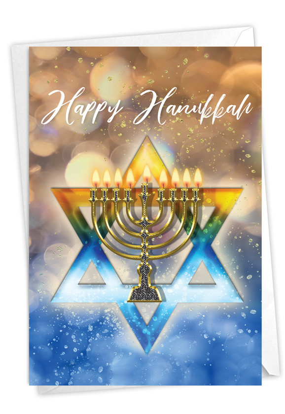 Festival of Lights: Creative Hanukkah Blank Printed Card