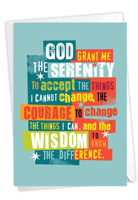 Serenity Sobriety Prayer: Stylish Recovery Card