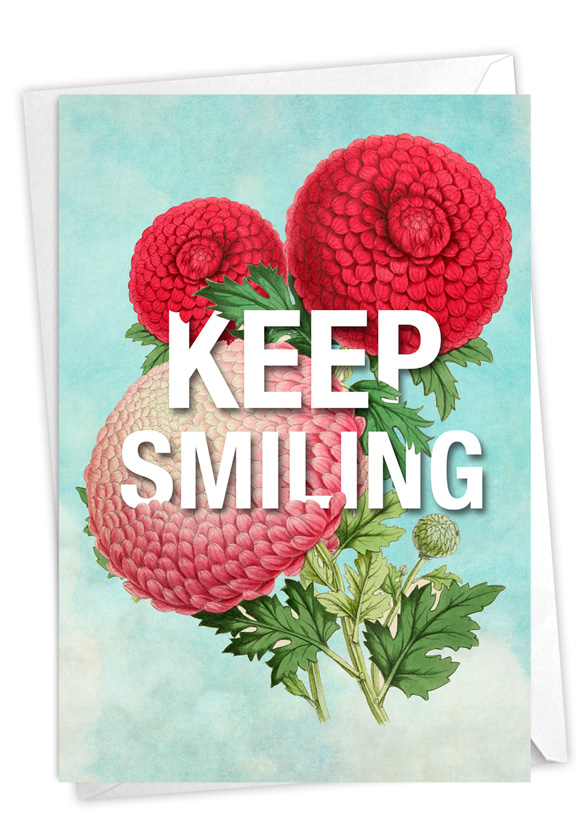 Timely Thoughts - Keep Smiling: Stylish Friendship Blank Paper Greeting Card