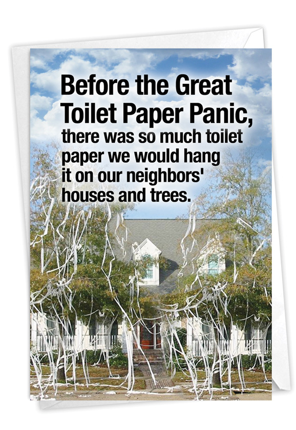 Toilet Paper Panic: Hilarious Birthday Printed Greeting Card