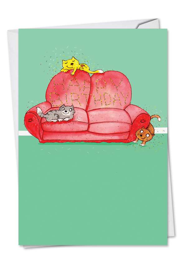 Cat Scratch Couch: Funny Birthday Paper Card