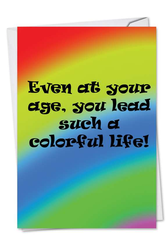 Colorful Life: Humorous Birthday Paper Card