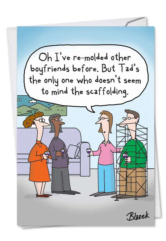 Boyfriend Scaffolding: Humorous Engagement Printed Greeting Card