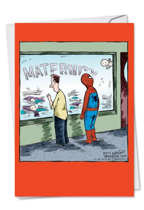 Spiderman Baby: Humorous Baby Paper Greeting Card
