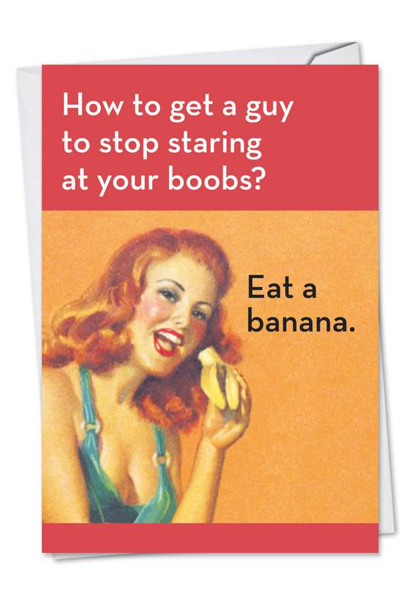 Eat A Banana: Funny Birthday Paper Greeting Card