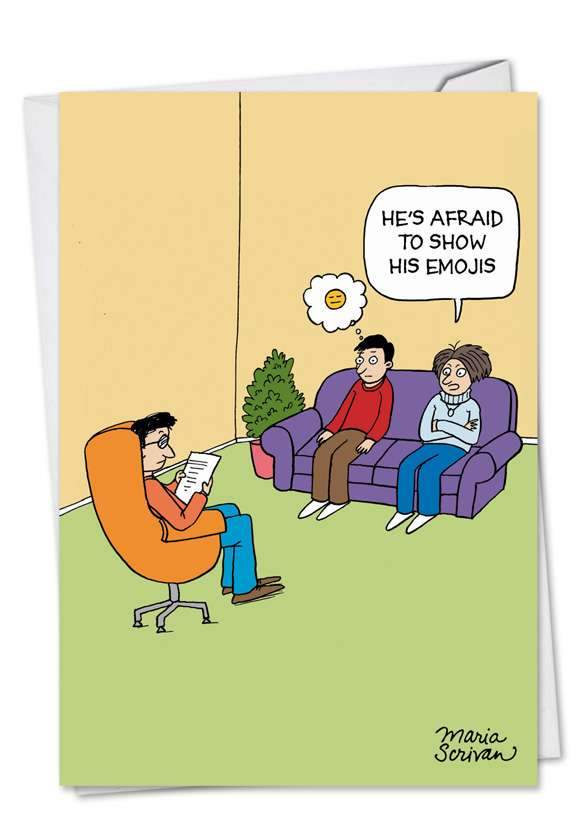 Emoji Counselor: Humorous Anniversary Paper Card