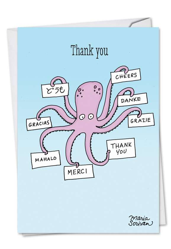 Octopus: Humorous Thank You Printed Greeting Card