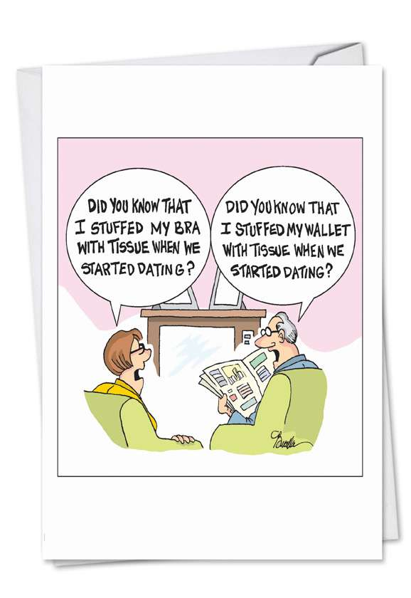 Stuffed When Dating: Humorous Anniversary Paper Greeting Card
