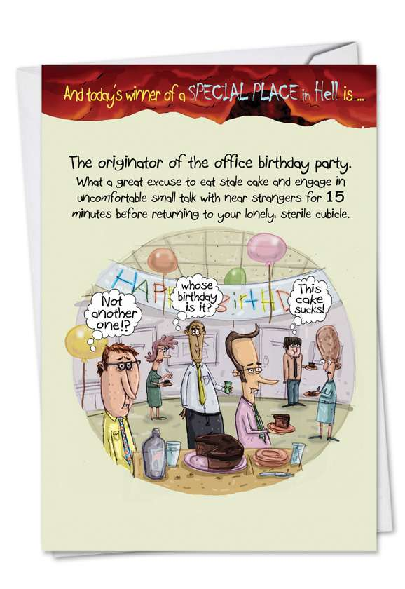 Office Birthday Party: Funny Birthday Paper Greeting Card