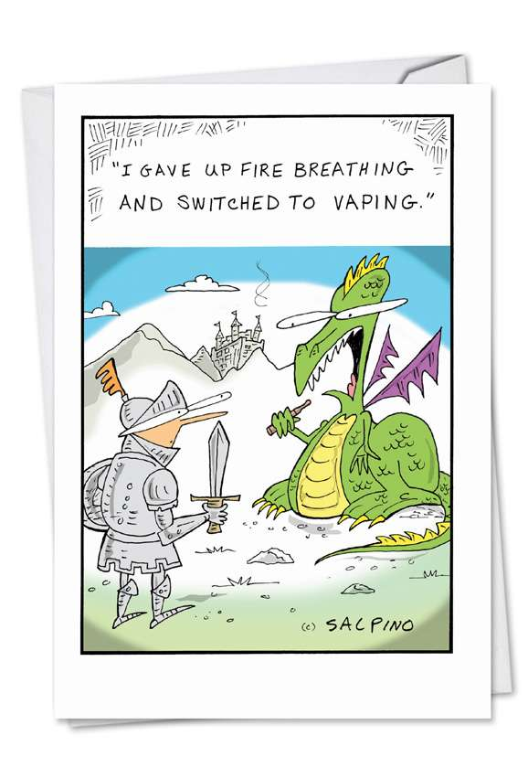 Vaping Dragon: Hilarious Birthday Paper Greeting Card