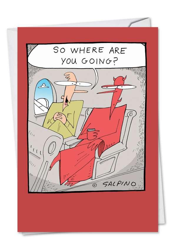 Devil Plane Ride: Funny Birthday Greeting Card
