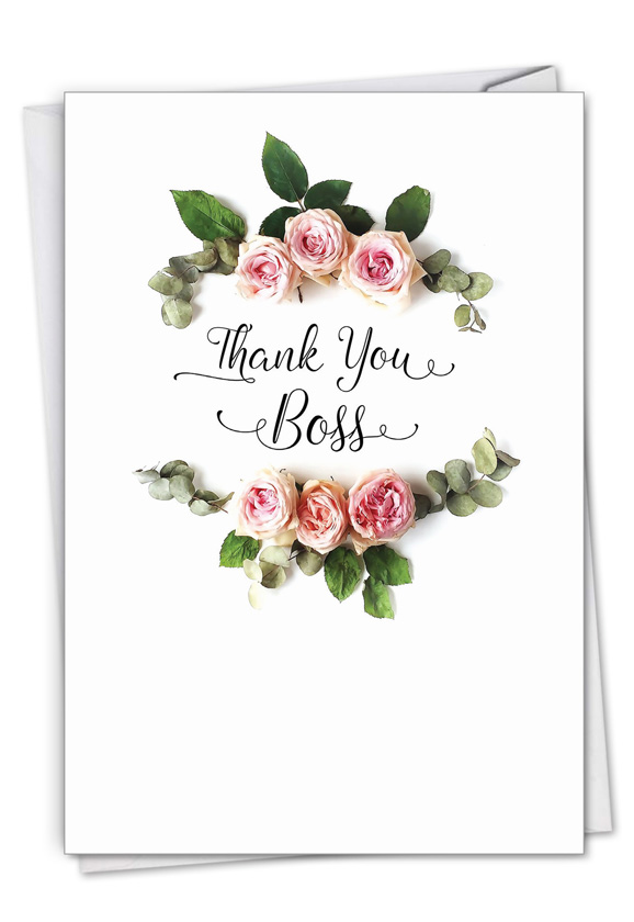 Elegant Flowers: Stylish Boss Thank You Card
