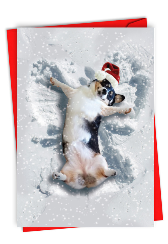 Critter Snow Angels - Dog: Stylish Merry Christmas Paper Card