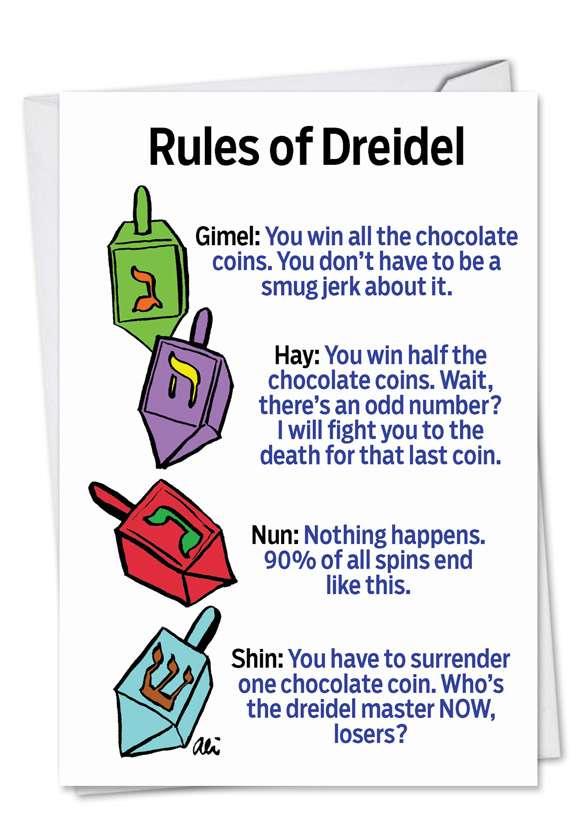 Rules of Dreidel: Hysterical Hanukkah Printed Card