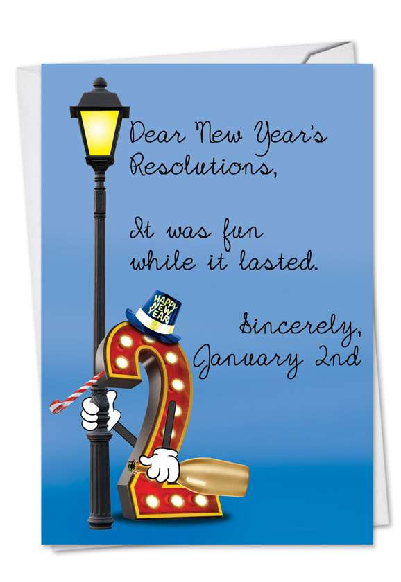 Dear Resolutions: Hilarious New Year Printed Greeting Card