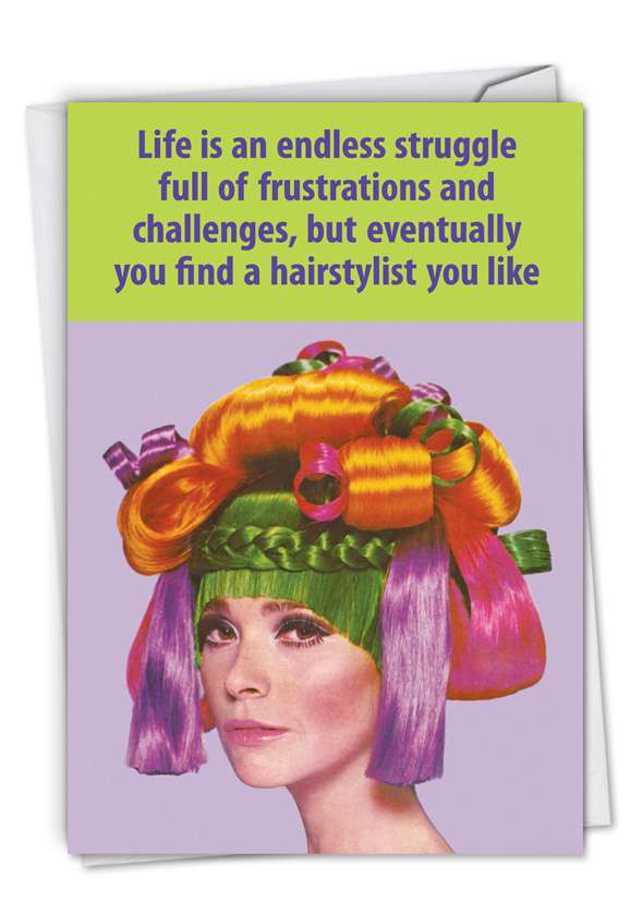 Hair Stylist: Hysterical Thank You Printed Card