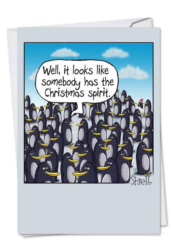 Penguin Christmas Spirit: Humorous Christmas Greeting Card