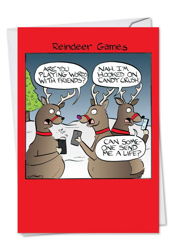 Reindeer Games: Humorous Christmas Paper Card