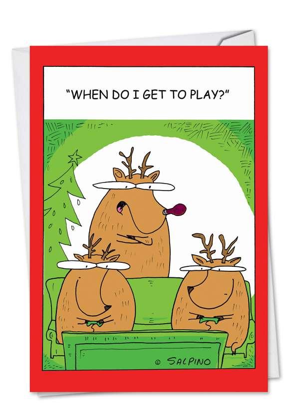 Reindeer Video Games: Funny Christmas Printed Card