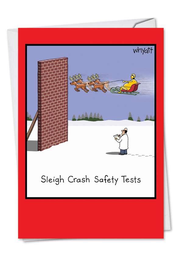 Sleigh Safety Tests: Humorous Christmas Printed Card