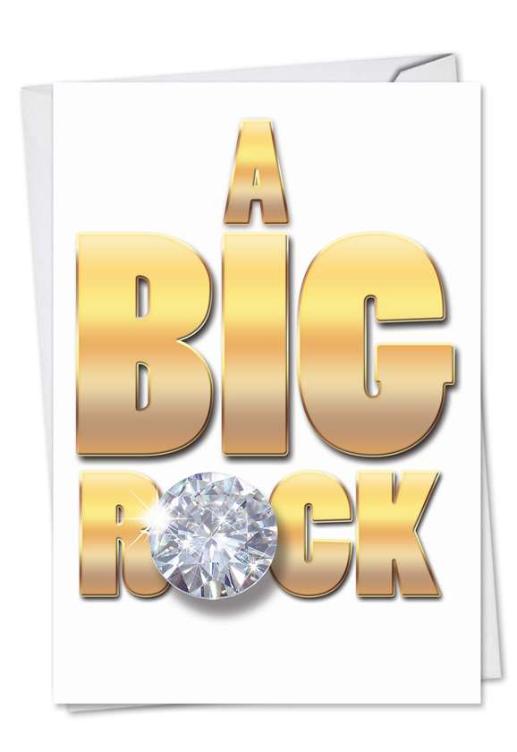A Big Rock: Hilarious Engagement Paper Card