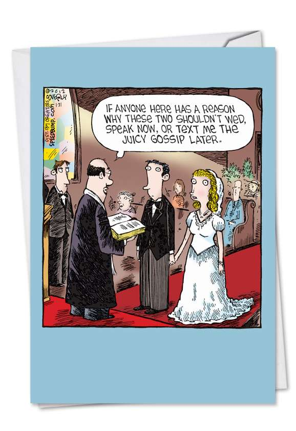 Wedding Gossip Text: Humorous Wedding Printed Card
