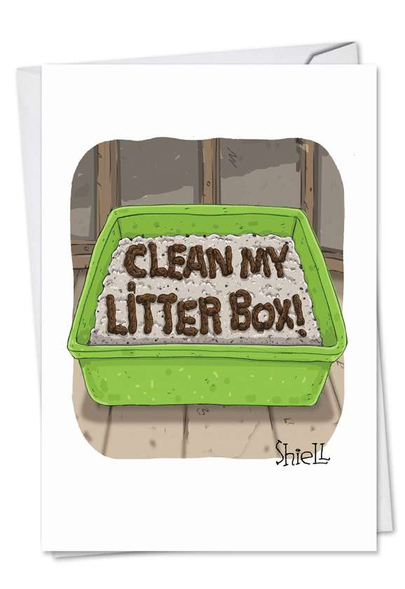 Cat Litter: Humorous Birthday Paper Greeting Card