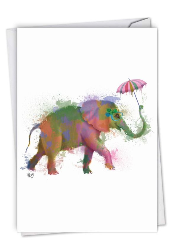 Funky Rainbow Wildlife - Elephant: Stylish Birthday Paper Greeting Card