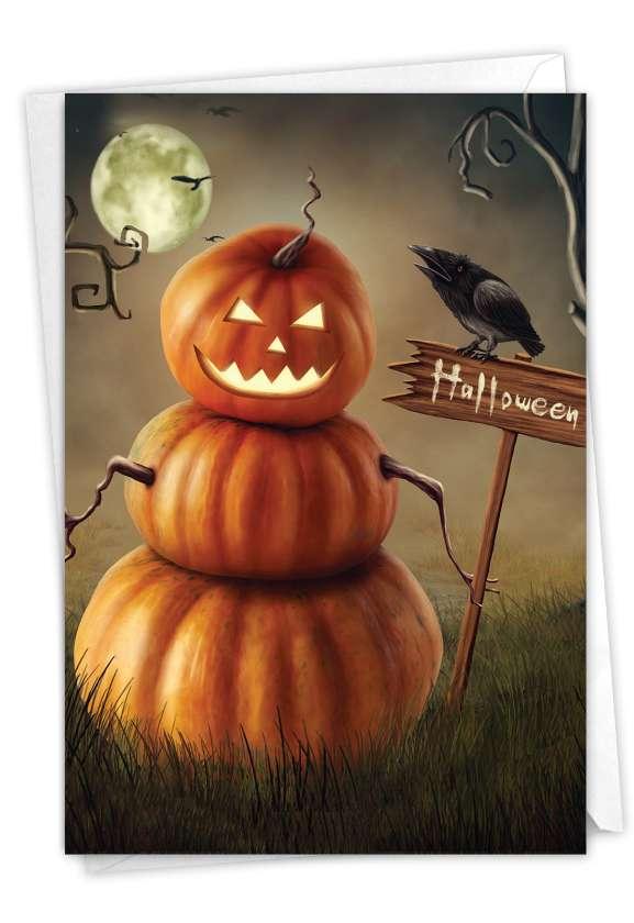 Spooky Pumpkins: Artful Halloween Printed Greeting Card