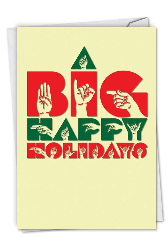 Big Signs: Stylish Happy Holidays Printed Greeting Card