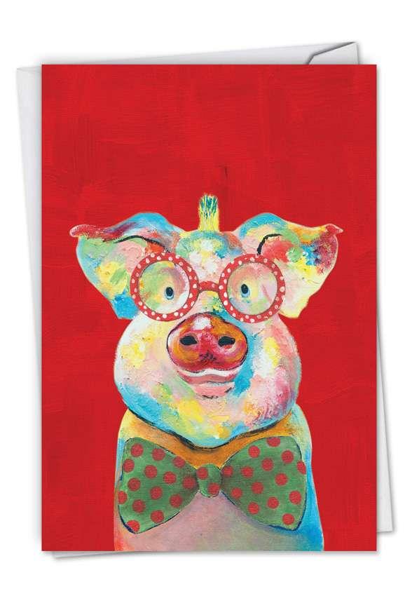 Funny Farm - Pig: Creative Christmas Greeting Card
