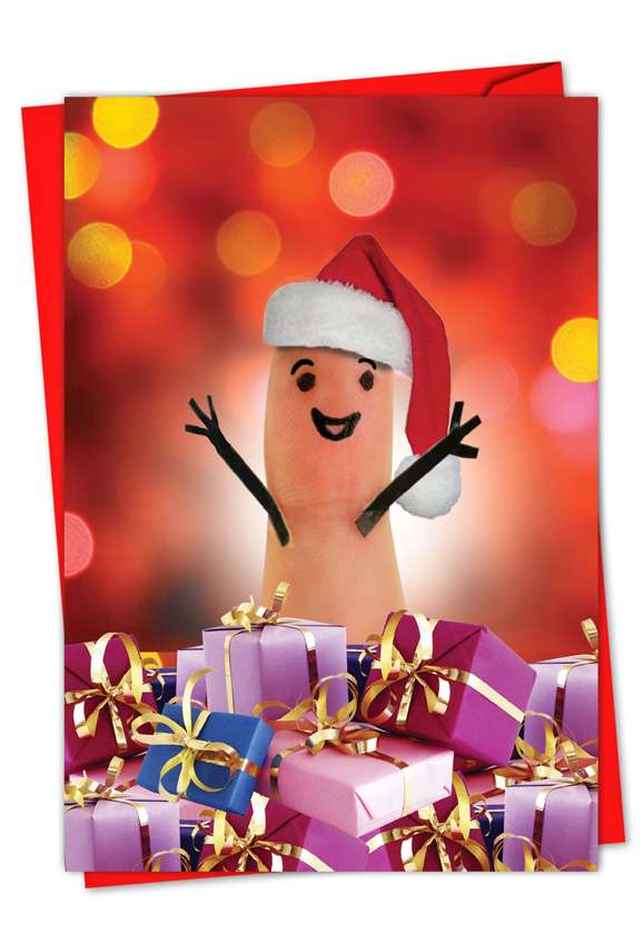 Fingers: Stylish Christmas Thank You Greeting Card