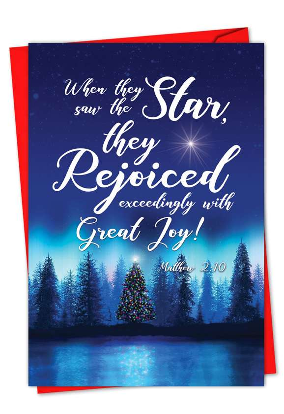 Christmas Quotes Matt 2:10: Creative Christmas Printed Card